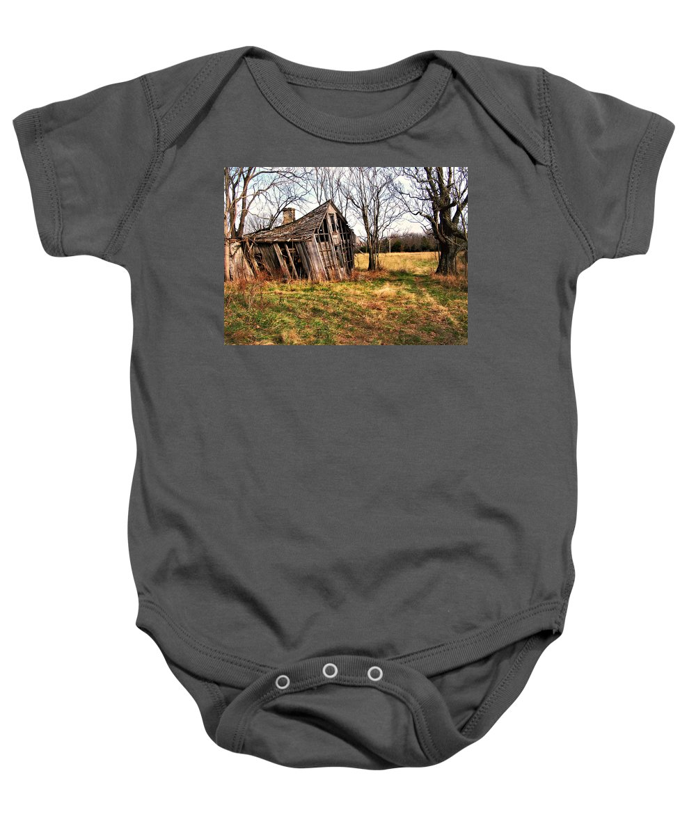 Old Home Baby Onesie featuring the photograph Lean To by Marty Koch