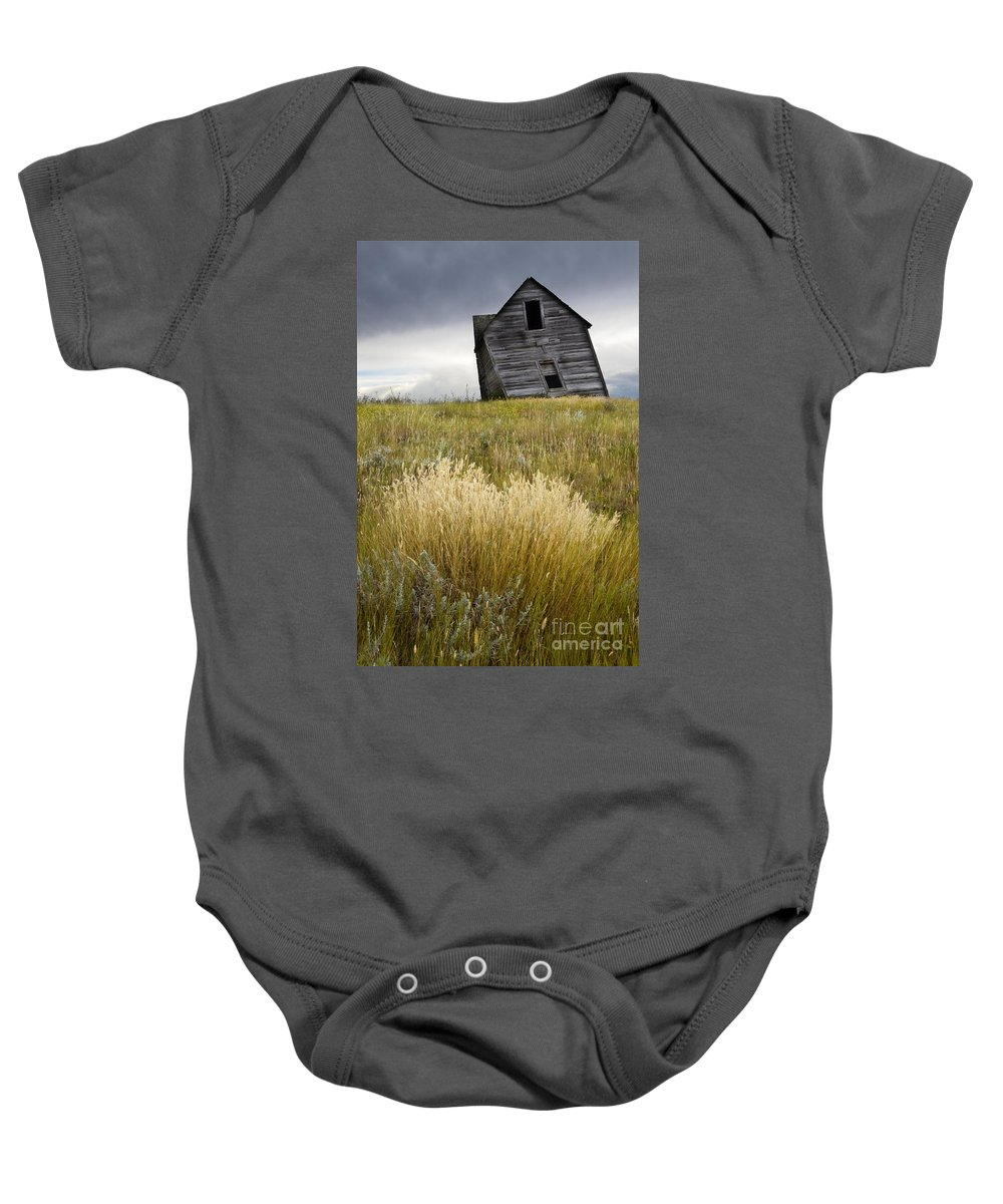 Homestead Baby Onesie featuring the photograph Leaning A Little by Bob Christopher