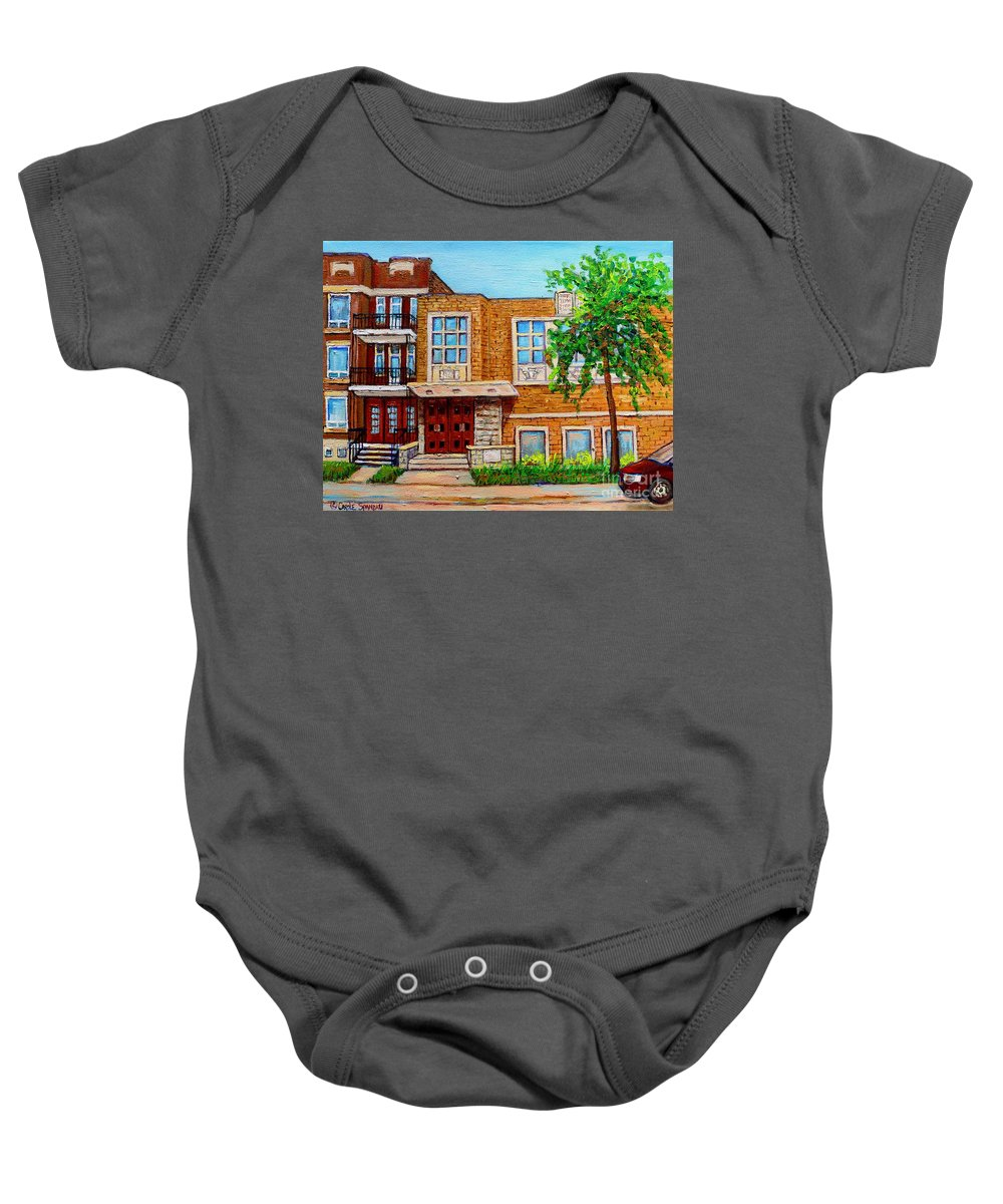 Montreal Baby Onesie featuring the painting Legare And Hutchison Synagogue Montreal by Carole Spandau