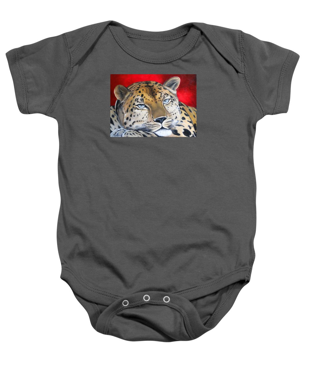 Jaguar Baby Onesie featuring the painting Leopardo by Angel Ortiz