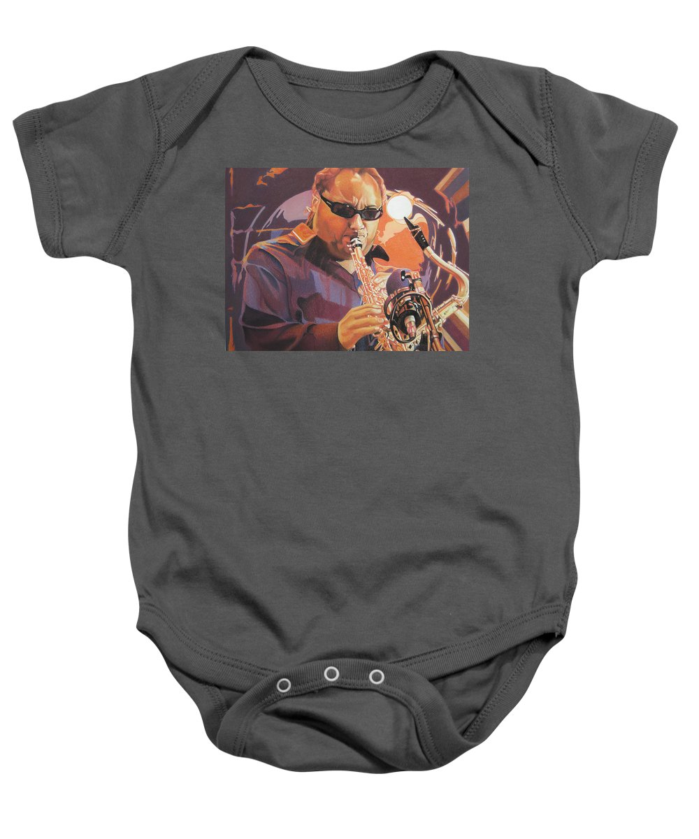 Leroi Moore Baby Onesie featuring the drawing Leroi Moore Purple And Orange by Joshua Morton