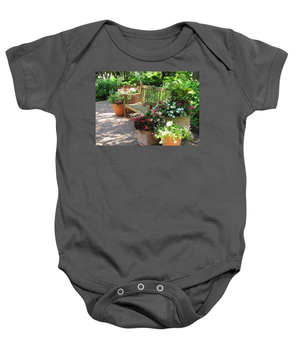 Bench Baby Onesie featuring the photograph Let's Meet Here by Jewell McChesney