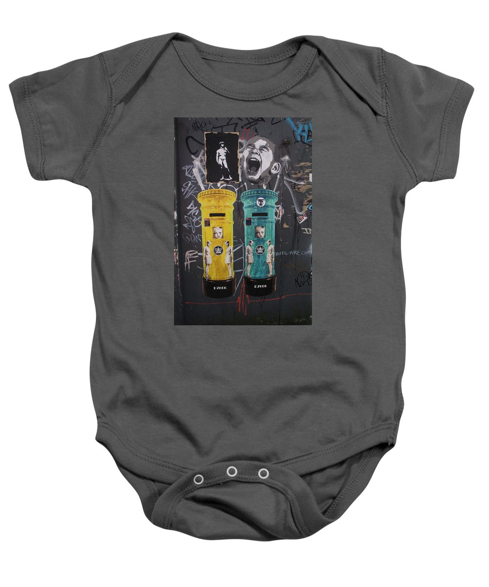 Street Art Baby Onesie featuring the photograph Letterboxes Da Vinci And Laughter by David Resnikoff