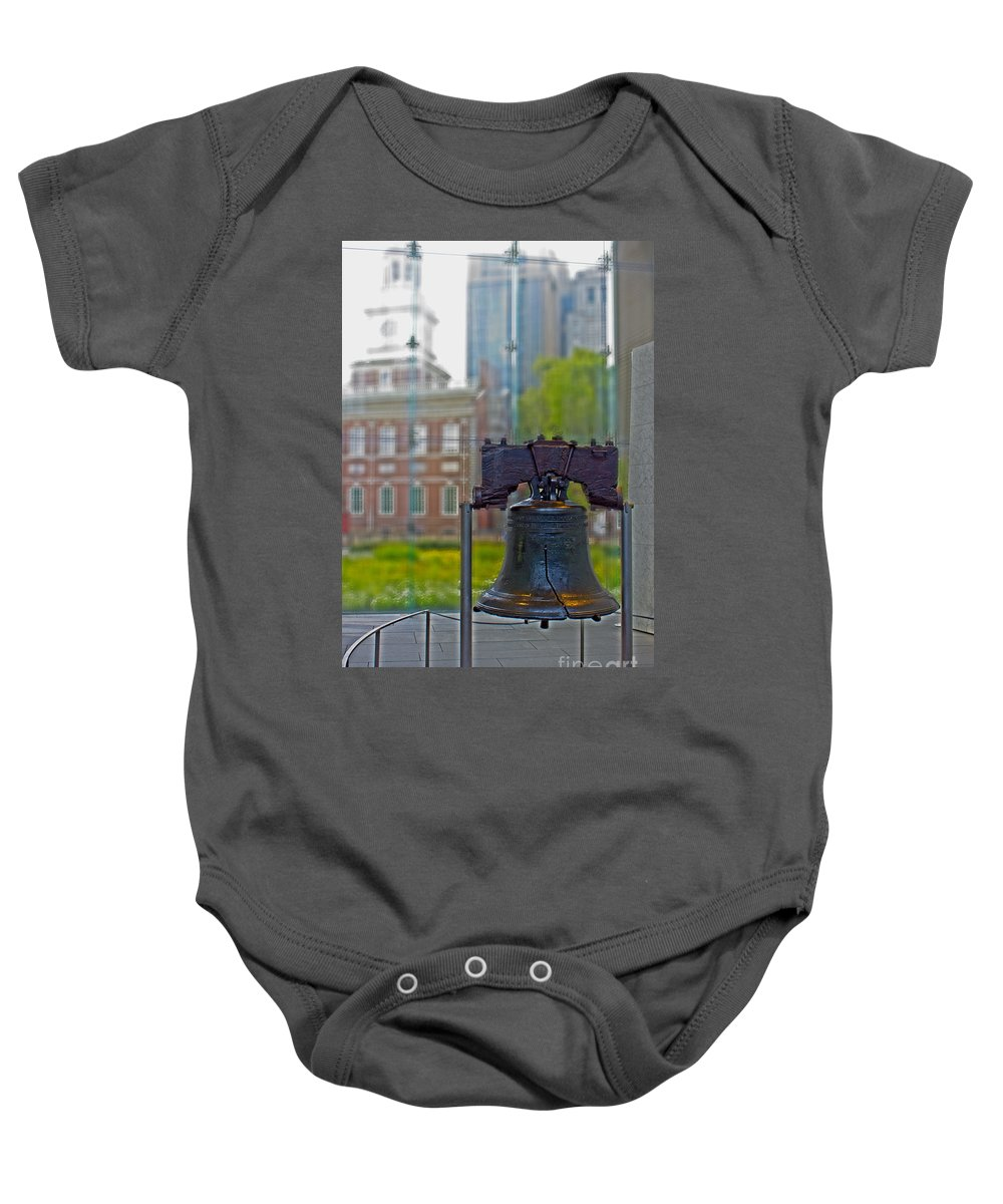 Liberty Bell Baby Onesie featuring the photograph Liberty Bell by Tom Gari Gallery-Three-Photography