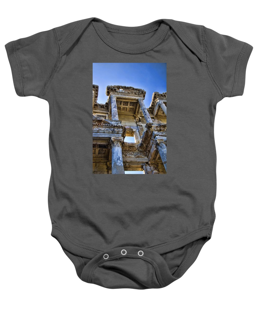 Ephesus Baby Onesie featuring the photograph Library Of Celsus by David Smith