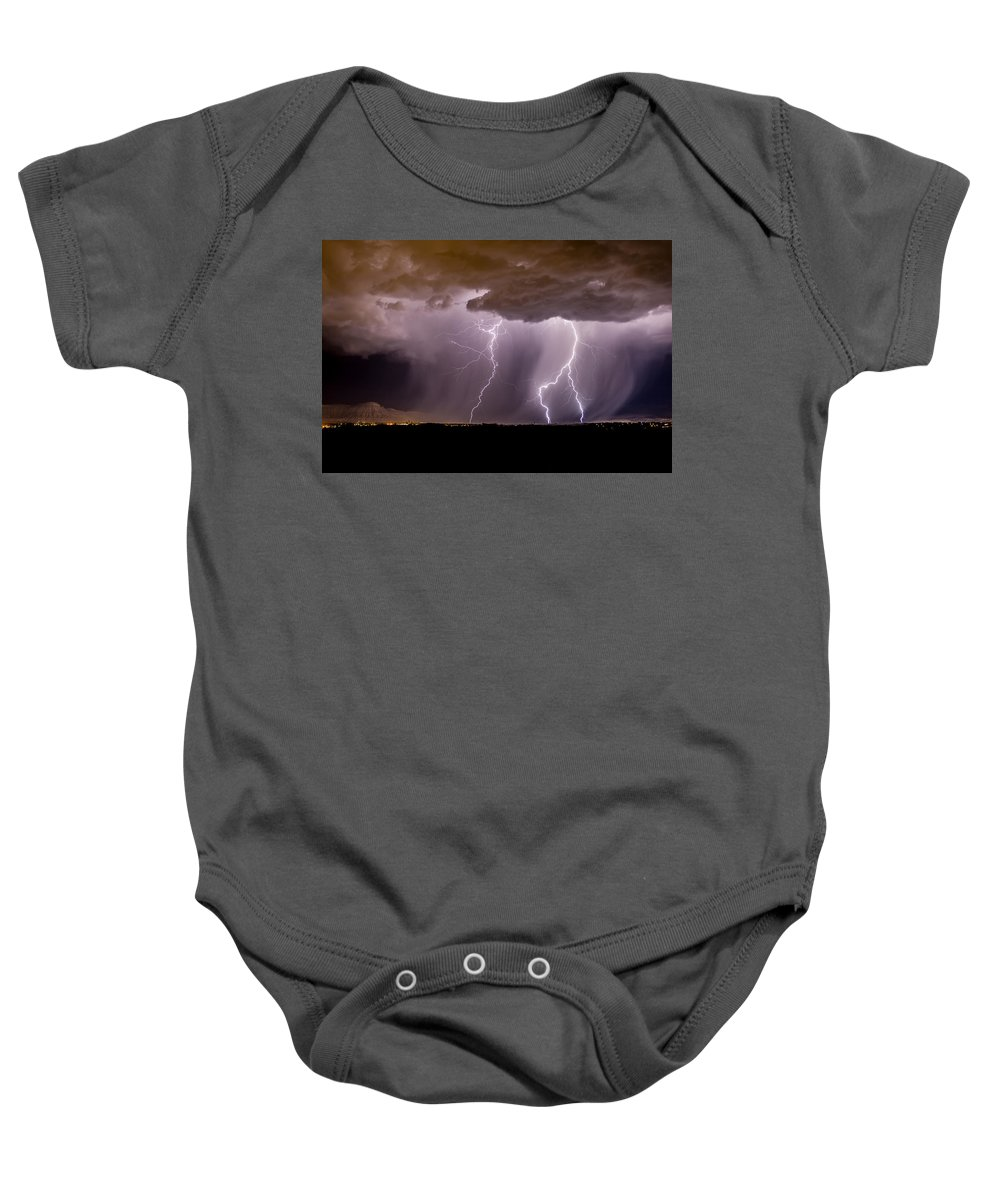Bolts Baby Onesie featuring the photograph Lightning 11 by Jeff Stoddart