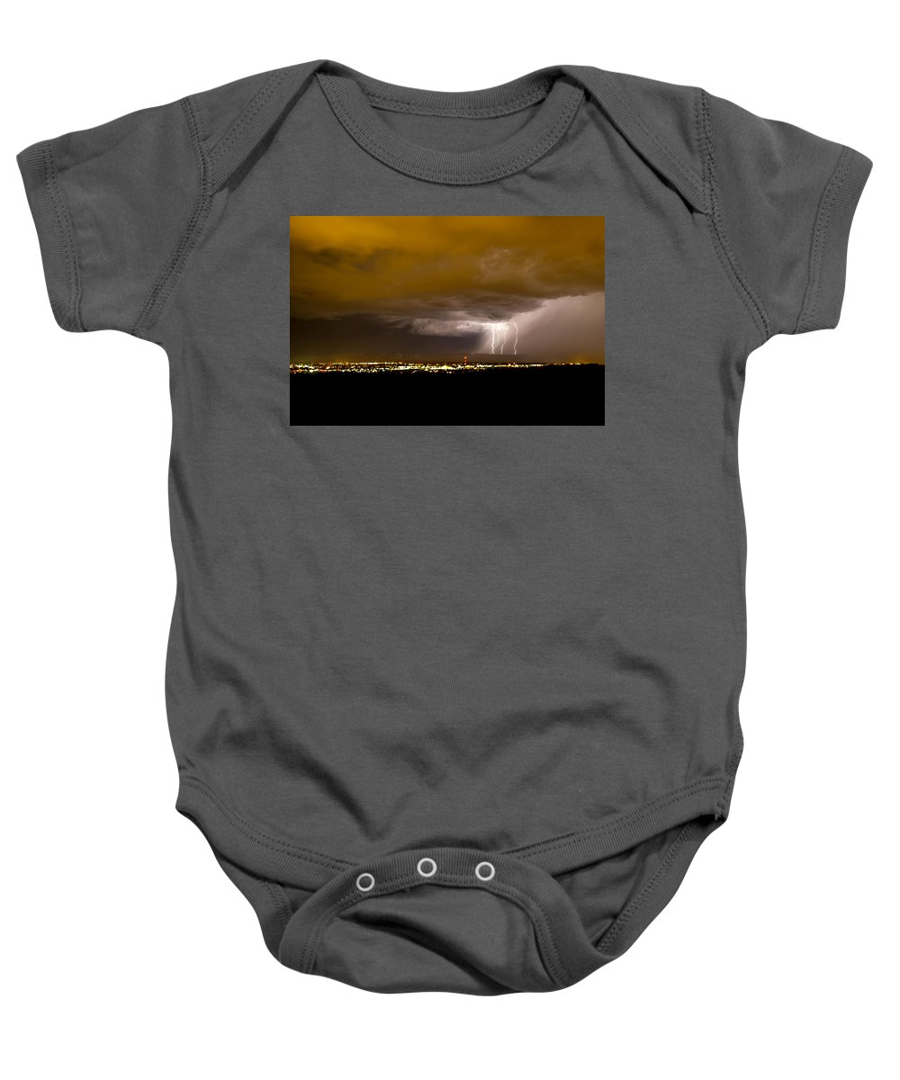 Bolts Baby Onesie featuring the photograph Lightning 17 by Jeff Stoddart