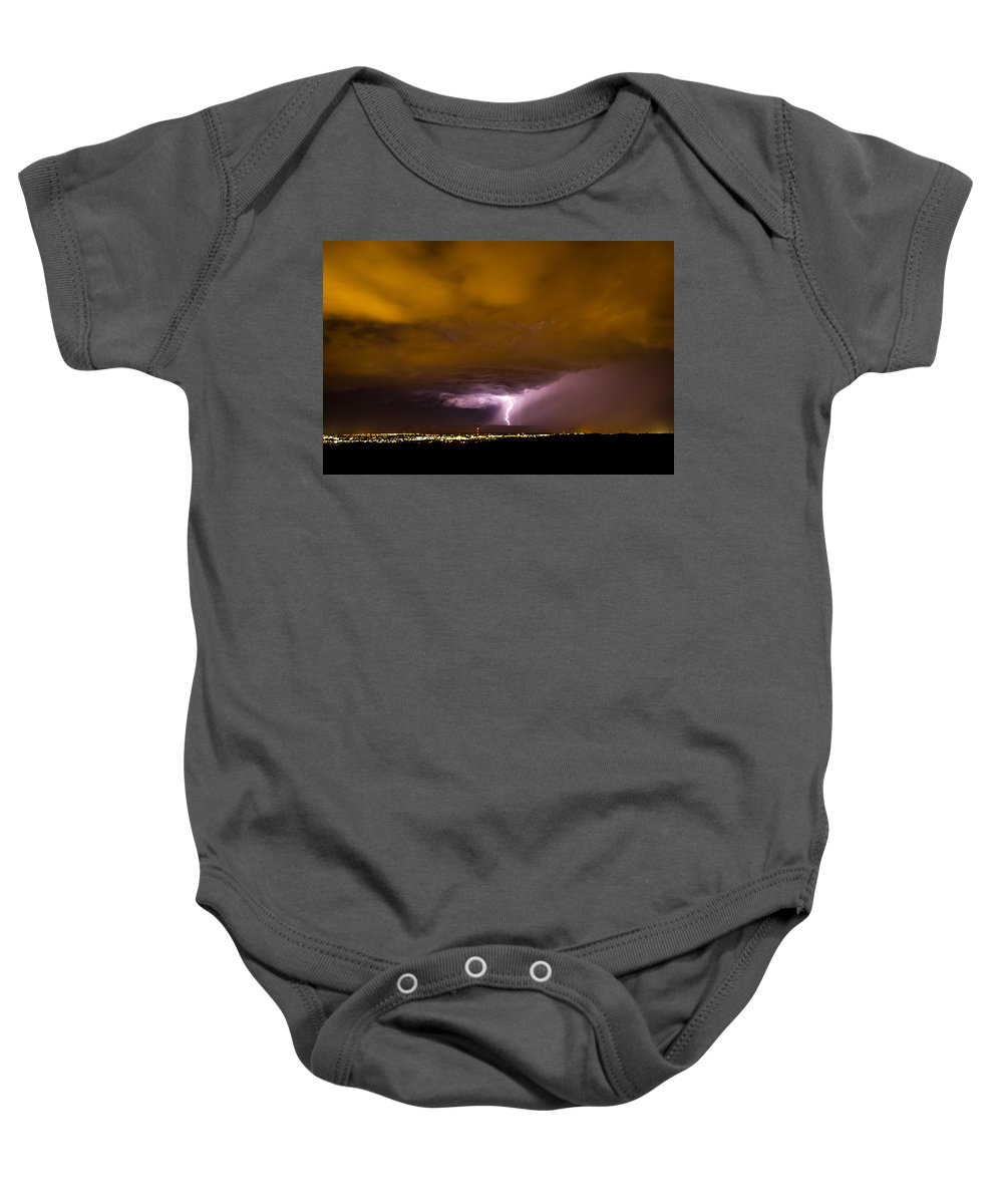 Bolts Baby Onesie featuring the photograph Lightning 18 by Jeff Stoddart