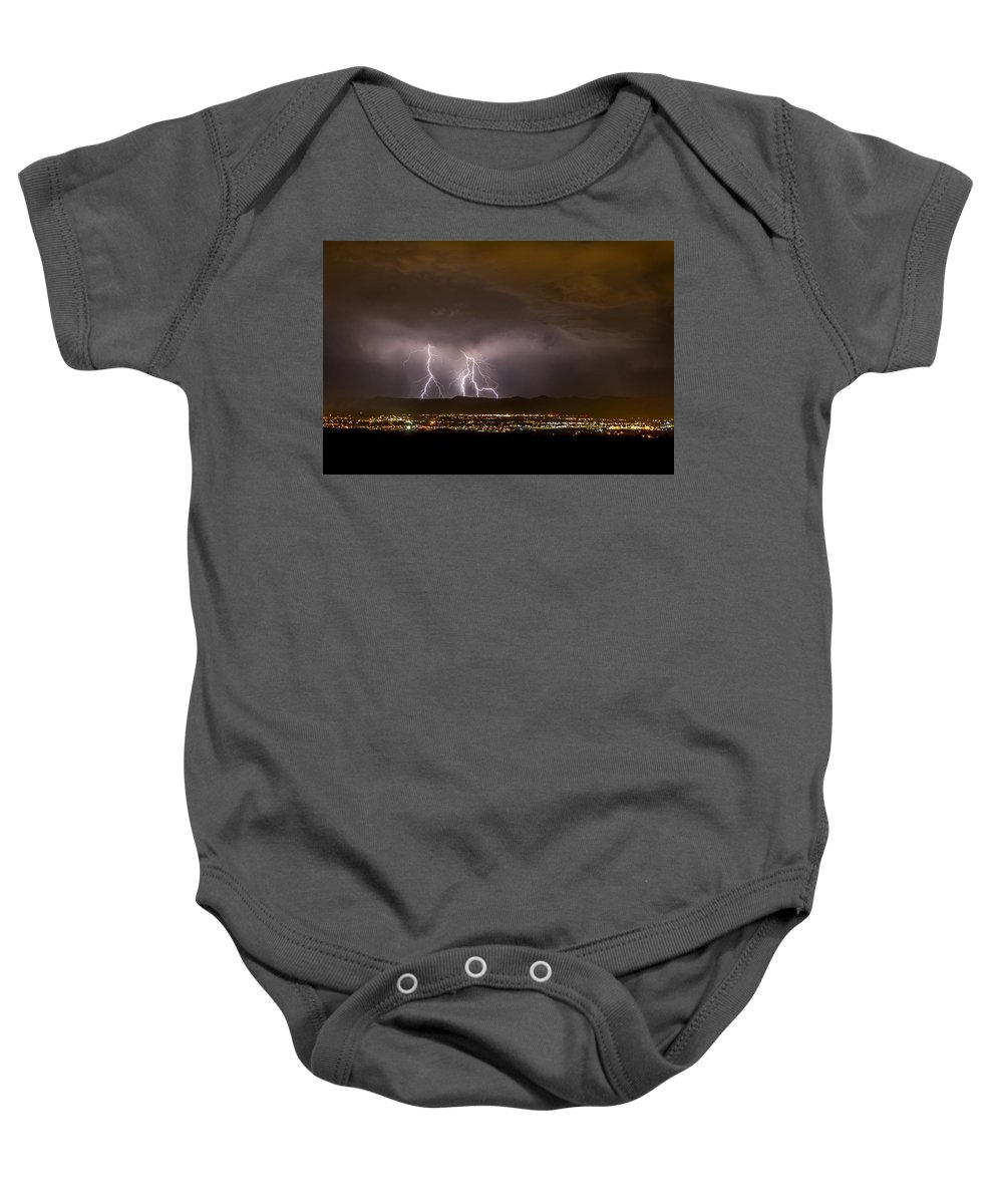 Bolts Baby Onesie featuring the photograph Lightning 7 by Jeff Stoddart