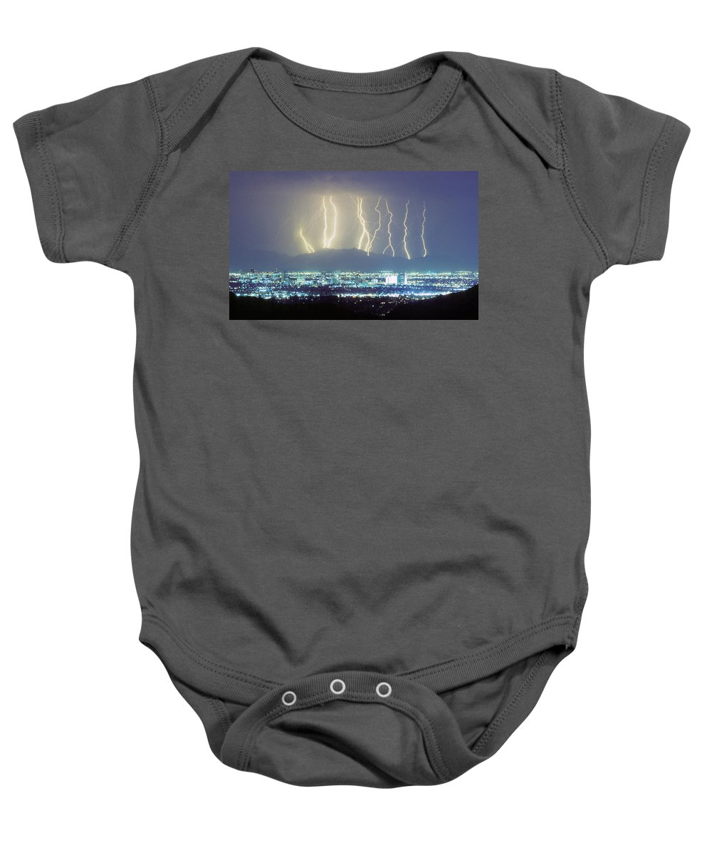Lightning Baby Onesie featuring the photograph Lightning Striking Over Phoenix Arizona by James BO Insogna