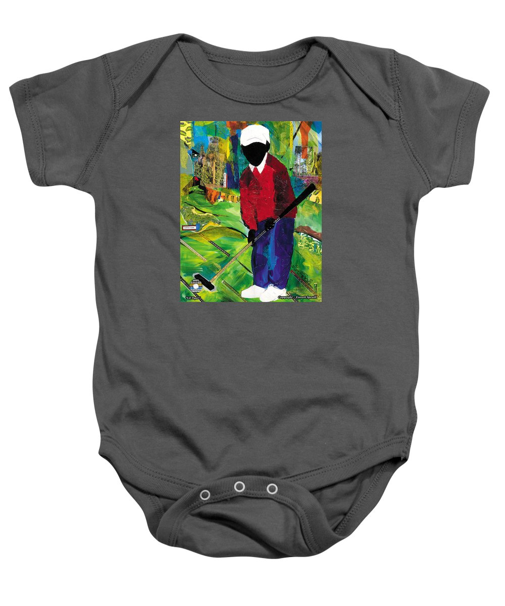 Everett Spruill Baby Onesie featuring the painting Lil Tiger by Everett Spruill