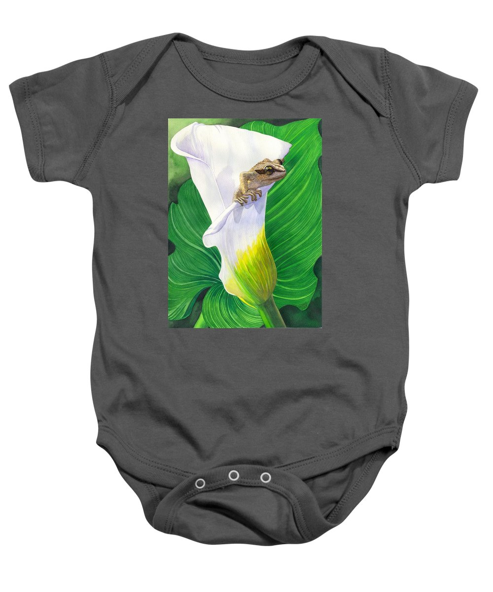 Frog Baby Onesie featuring the painting Lily Dipping by Catherine G McElroy
