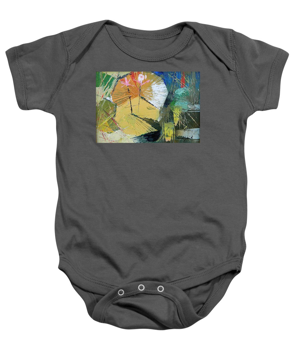 Landscape Baby Onesie featuring the painting lily Pond 2 by Said Oladejo-lawal