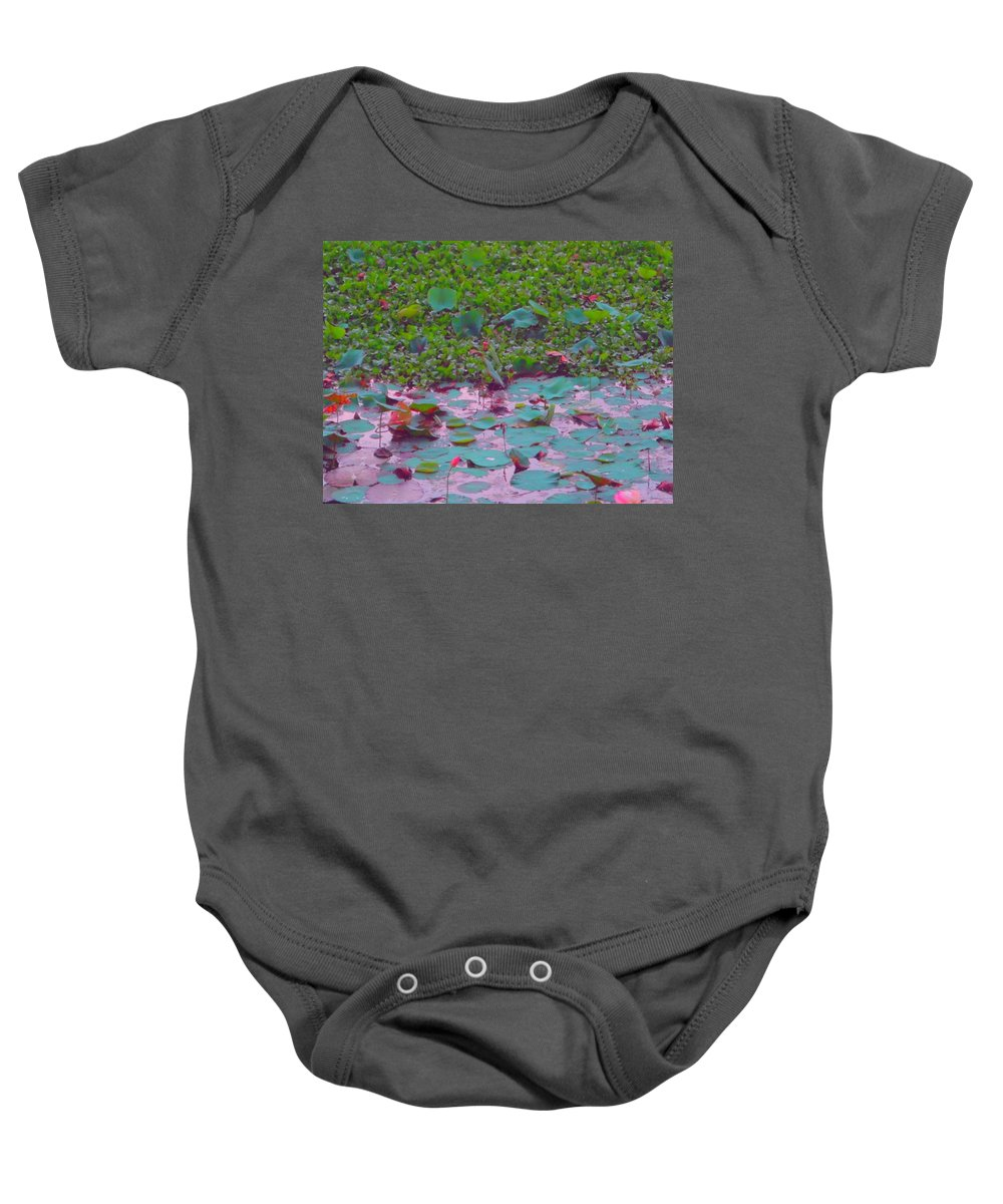 Lily Pond Baby Onesie featuring the photograph Lily Pond 2 by Usha Shantharam