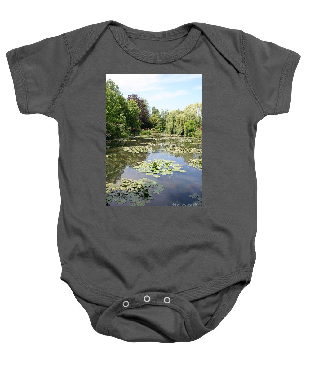 Liliy Baby Onesie featuring the photograph Lily Pond - Monets Garden by Christiane Schulze Art And Photography