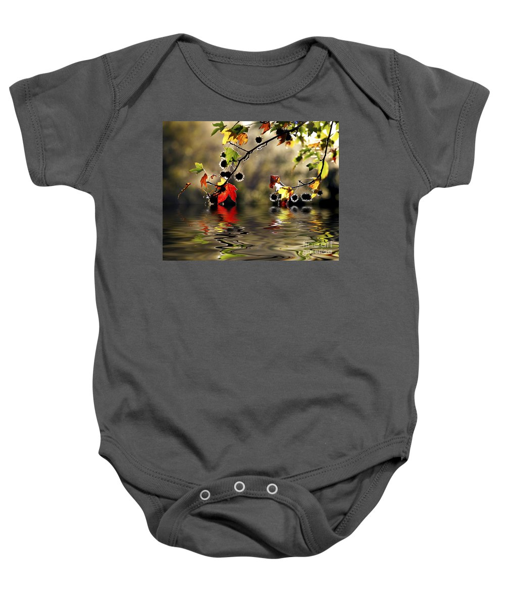 Liquidambar Maple Autumn Fall Flood Water Reflection Baby Onesie featuring the photograph Liquidambar In Flood by Sheila Smart Fine Art Photography