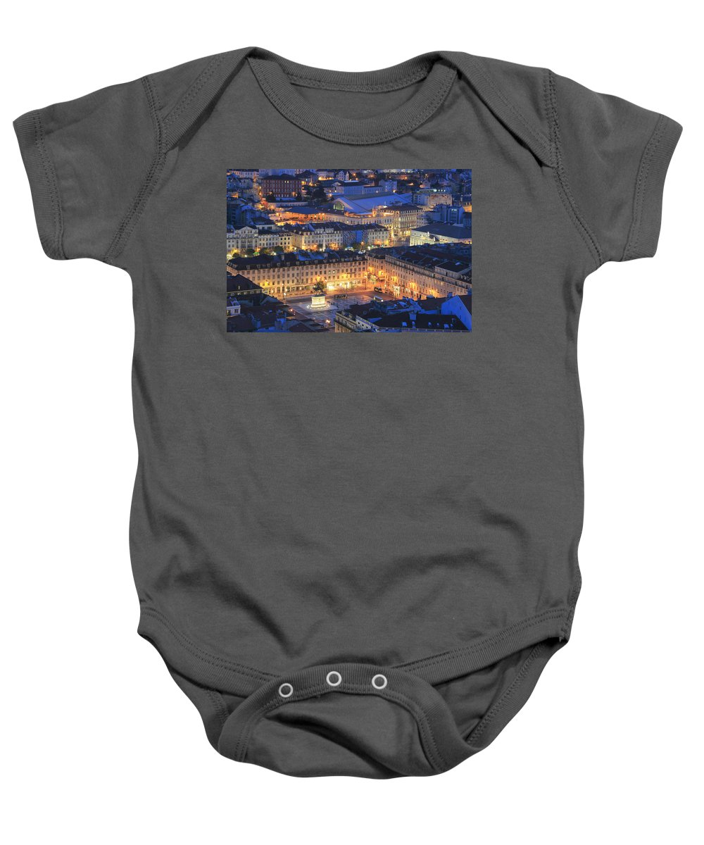 Architecture Baby Onesie featuring the photograph Lisbon At Night Portugal by Ivan Pendjakov