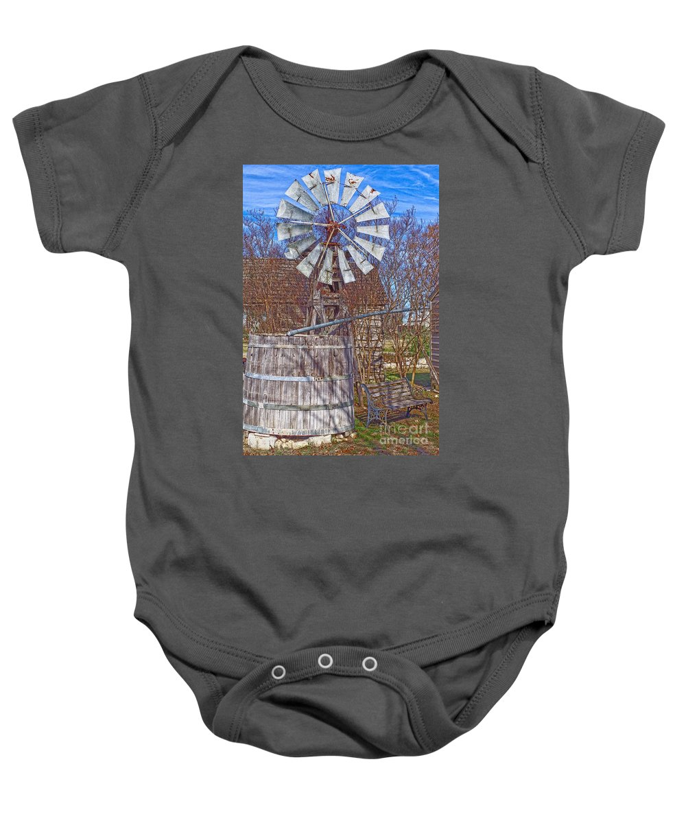 Windmill Baby Onesie featuring the photograph Listen To The Wind by Gary Richards