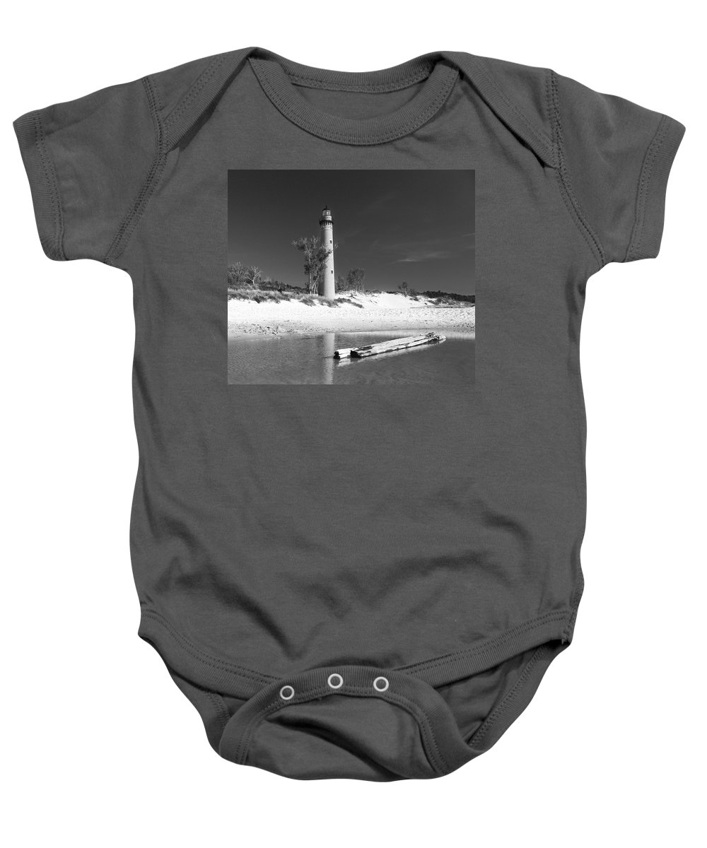 Lighthouse Baby Onesie featuring the photograph Litle Sable Light Station - Film Scan by Larry Carr