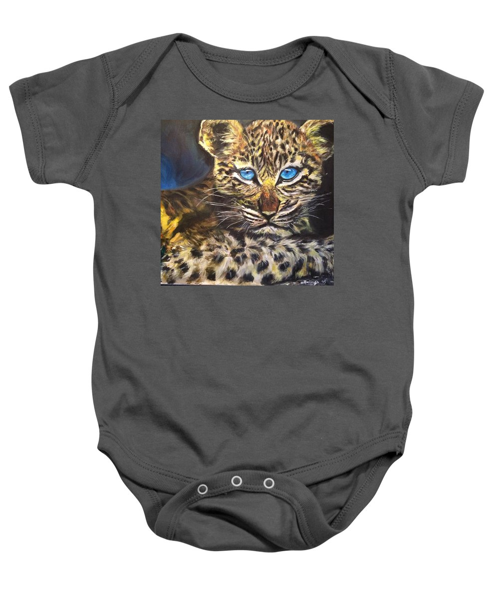 Leopard Baby Onesie featuring the painting Little Blue Eyes by Belinda Low