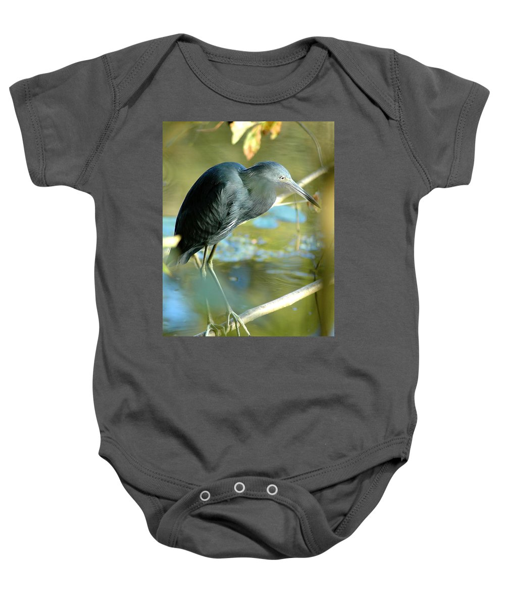 Little Blue Heron Baby Onesie featuring the photograph Little Blue View by Norman Johnson