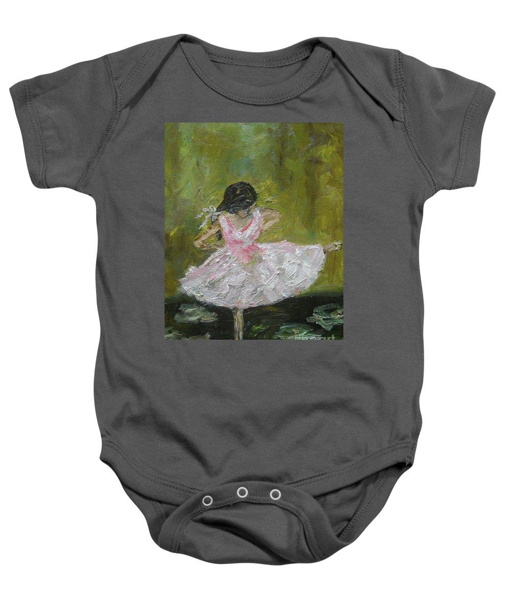 Girl Baby Onesie featuring the painting Little Dansarina by Reina Resto
