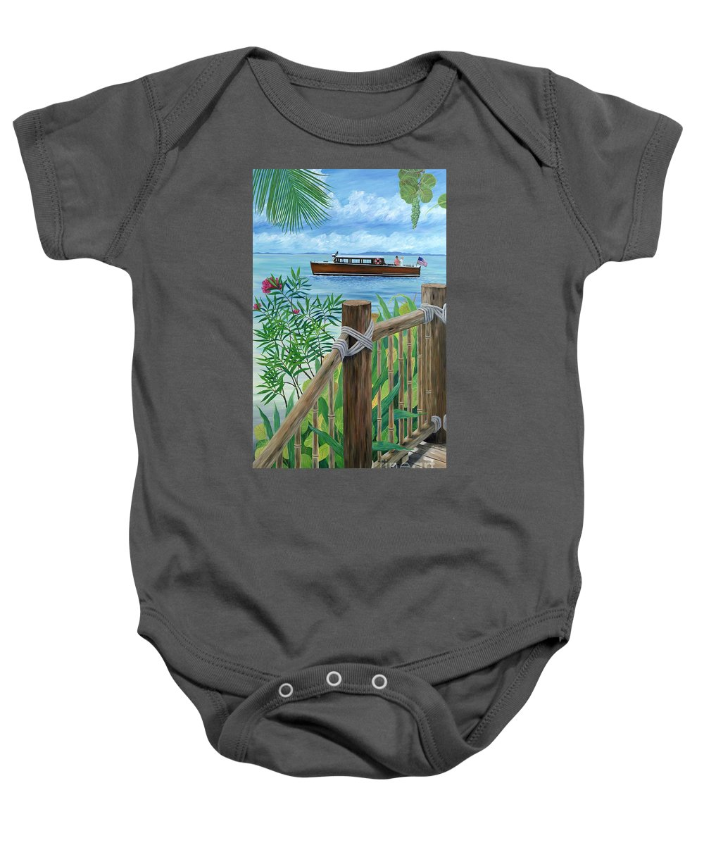 Island Baby Onesie featuring the painting Little Palm Island by Danielle Perry