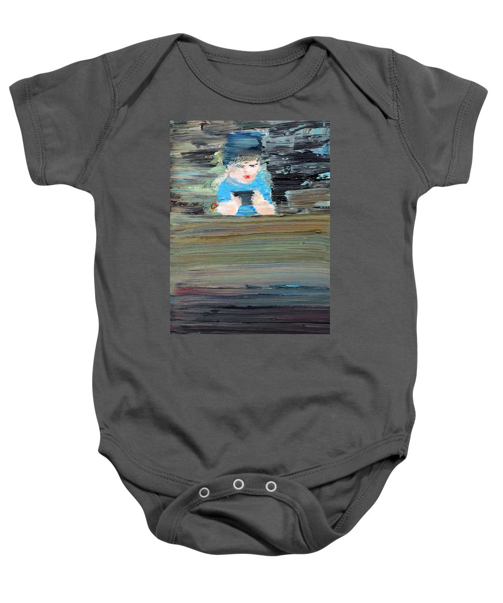 Child Baby Onesie featuring the painting Little Player by Fabrizio Cassetta