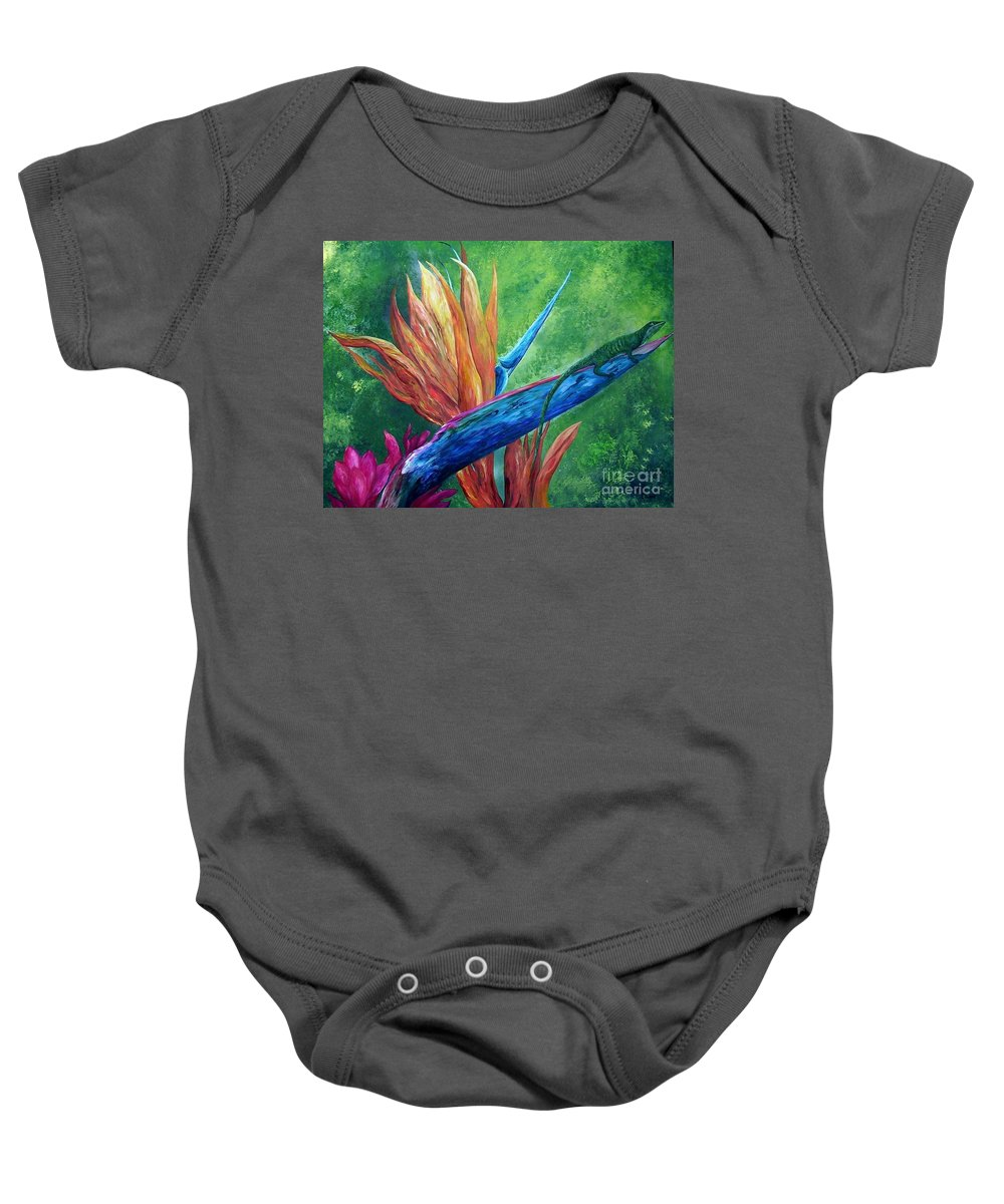 Lizard Baby Onesie featuring the painting Lizard On Bird Of Paradise by Eloise Schneider Mote
