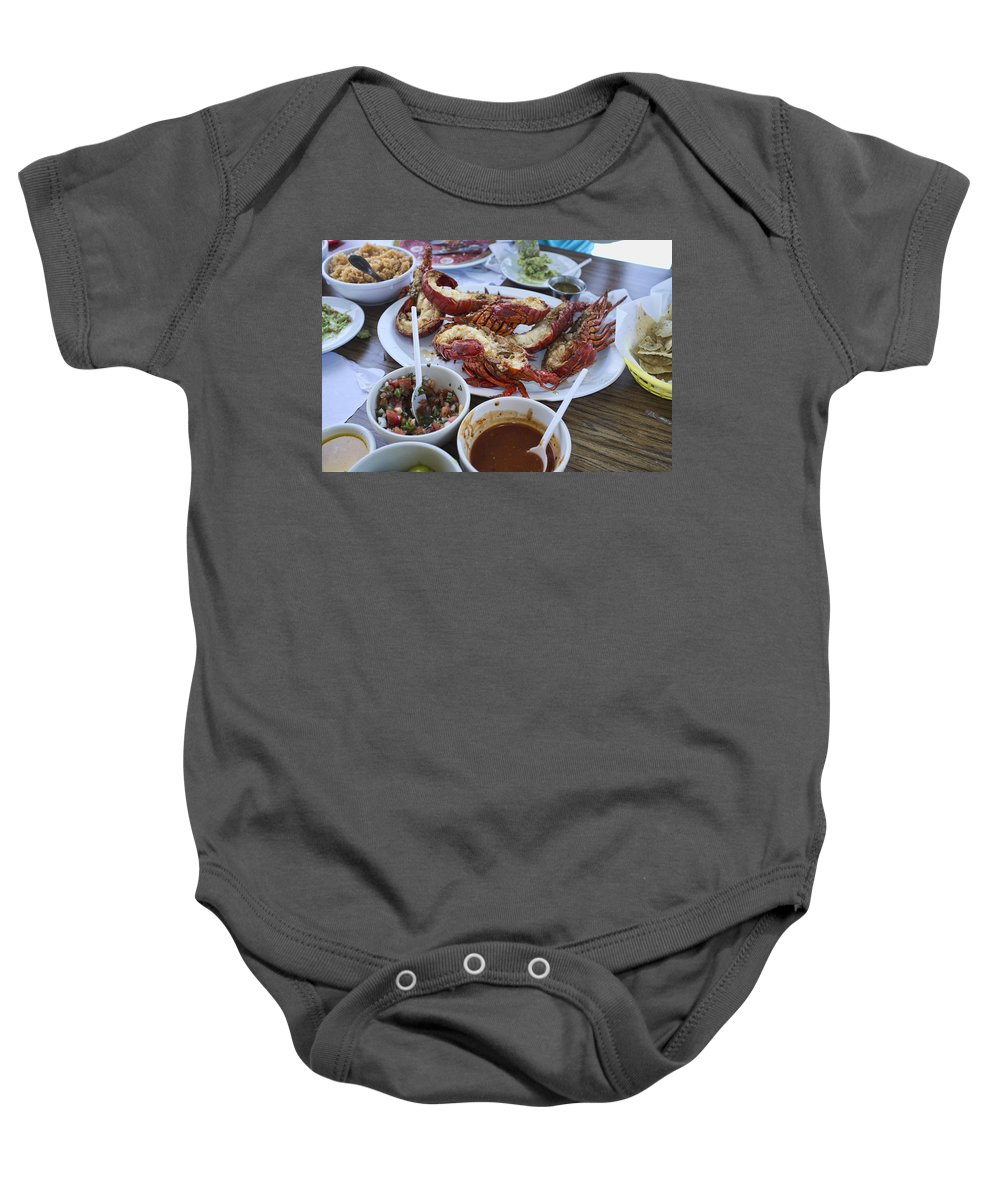 Puerto Nuveo Baby Onesie featuring the photograph Lobster Puerto Nuevo Style by Hugh Smith