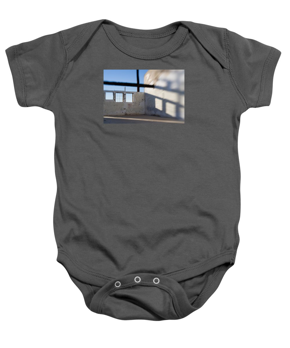 Warehouse Baby Onesie featuring the photograph Loft For Rent Burnt Out Building Or Wharehouse by Scott Campbell
