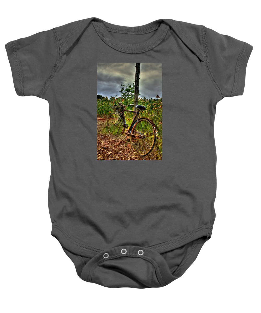 Antique Bicycle Baby Onesie featuring the photograph Long Awaited Rest by Reid Callaway
