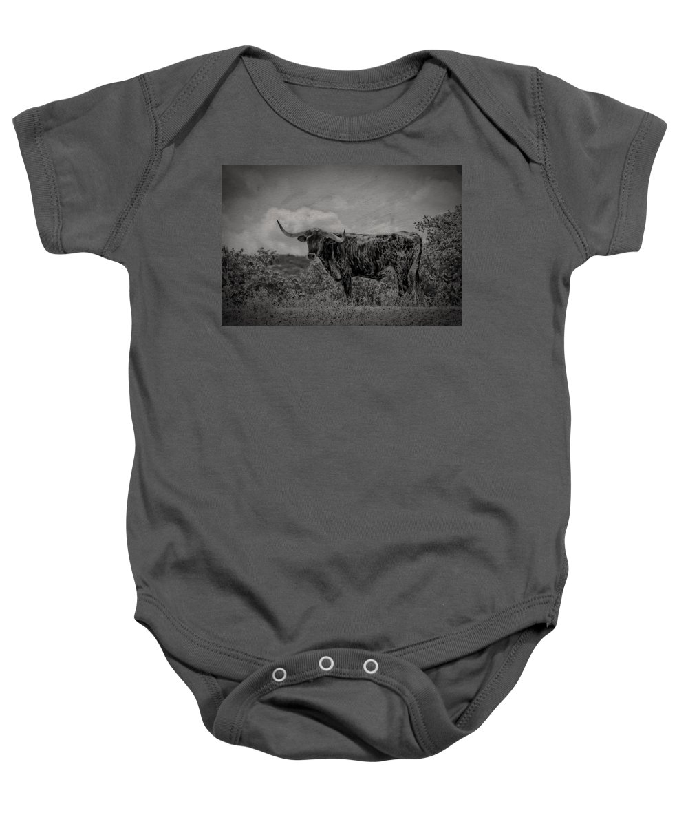 Longhorn Baby Onesie featuring the photograph Longhorn Of Bandera by Kim Henderson