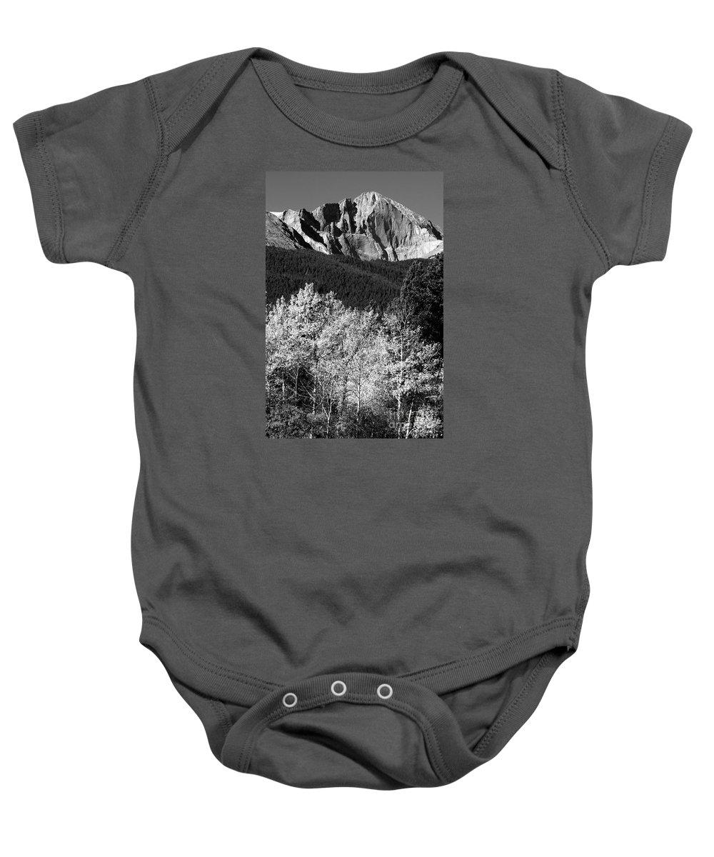 Longs Peak Baby Onesie featuring the photograph Longs Peak 14256 Ft by James BO Insogna