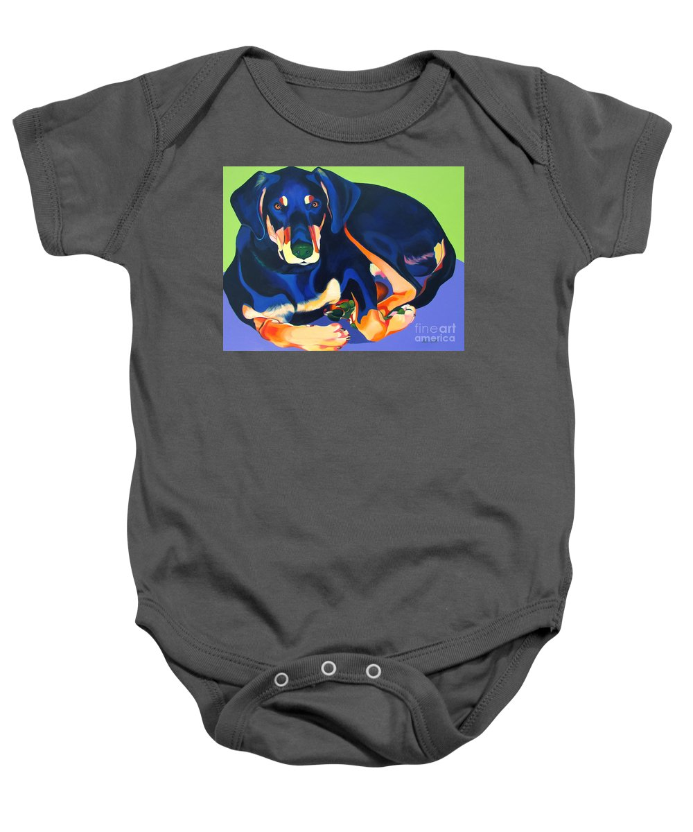 Blue Dog Baby Onesie featuring the painting Looker by Adele Castillo