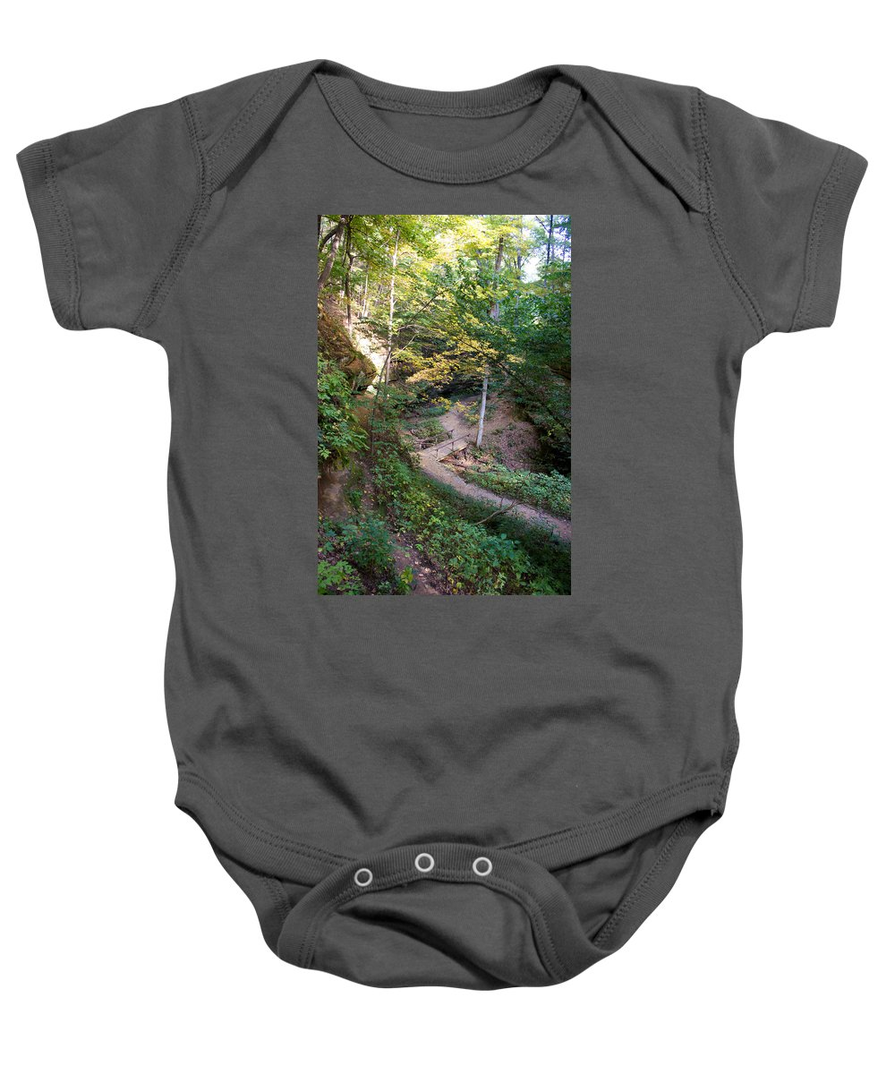 Devil's Punch Bowl Baby Onesie featuring the photograph Looking Into Devil's Punch Bowl Wildcat Den by Cynthia Woods