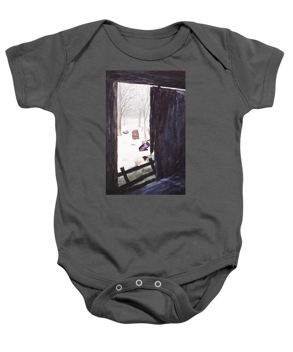 Landscape Baby Onesie featuring the painting Looking Out Looking In by Rachel Christine Nowicki