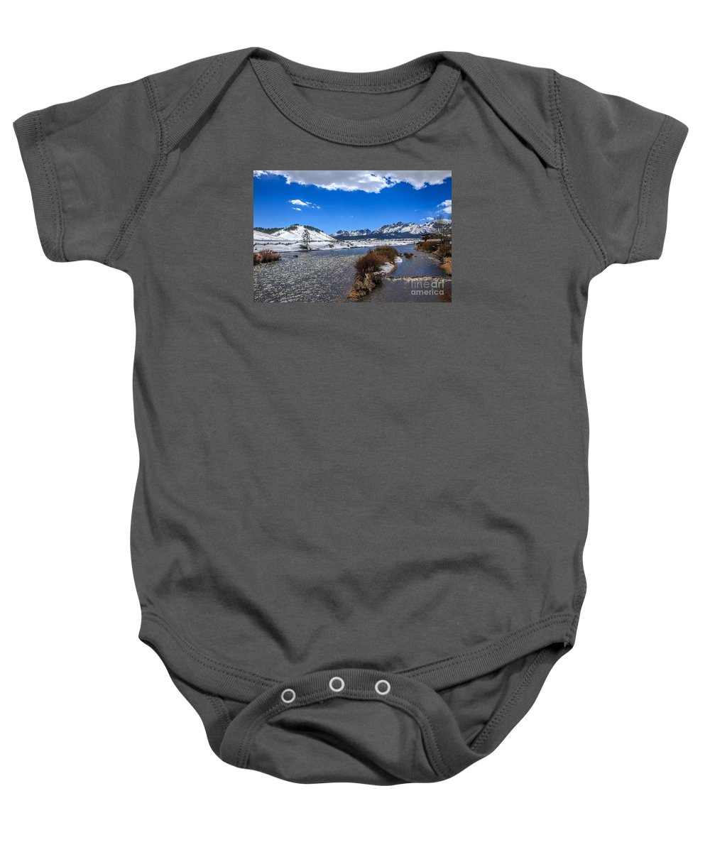Rocky Mountains Baby Onesie featuring the photograph Looking Up The Salmon River by Robert Bales