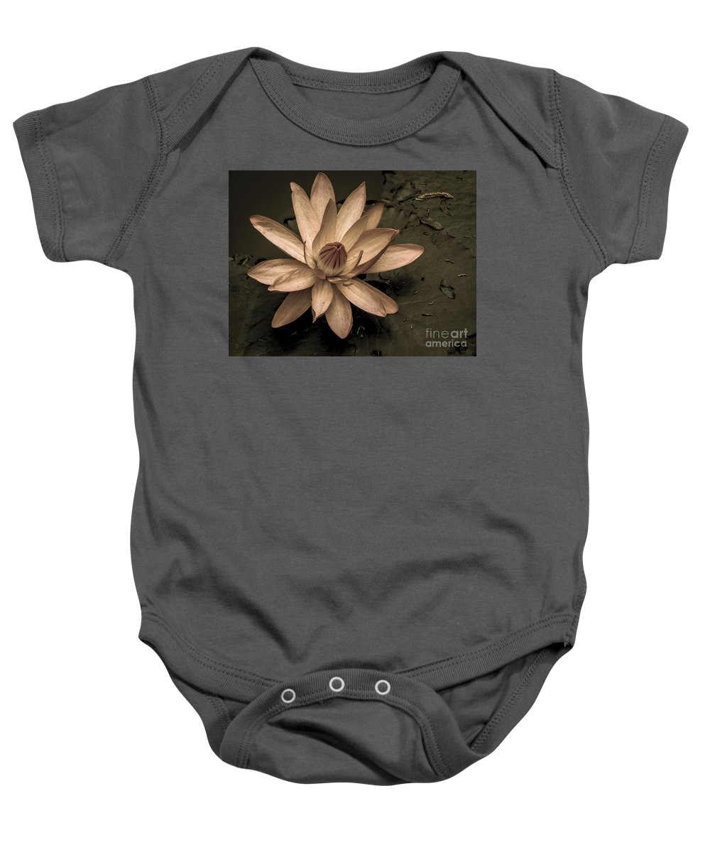 Lovejoy Baby Onesie featuring the photograph Lotus Blossom by Lovejoy Creations