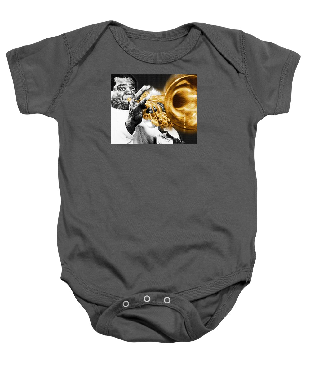 Louis Armstrong Baby Onesie featuring the painting Louis Armstrong by Tony Rubino