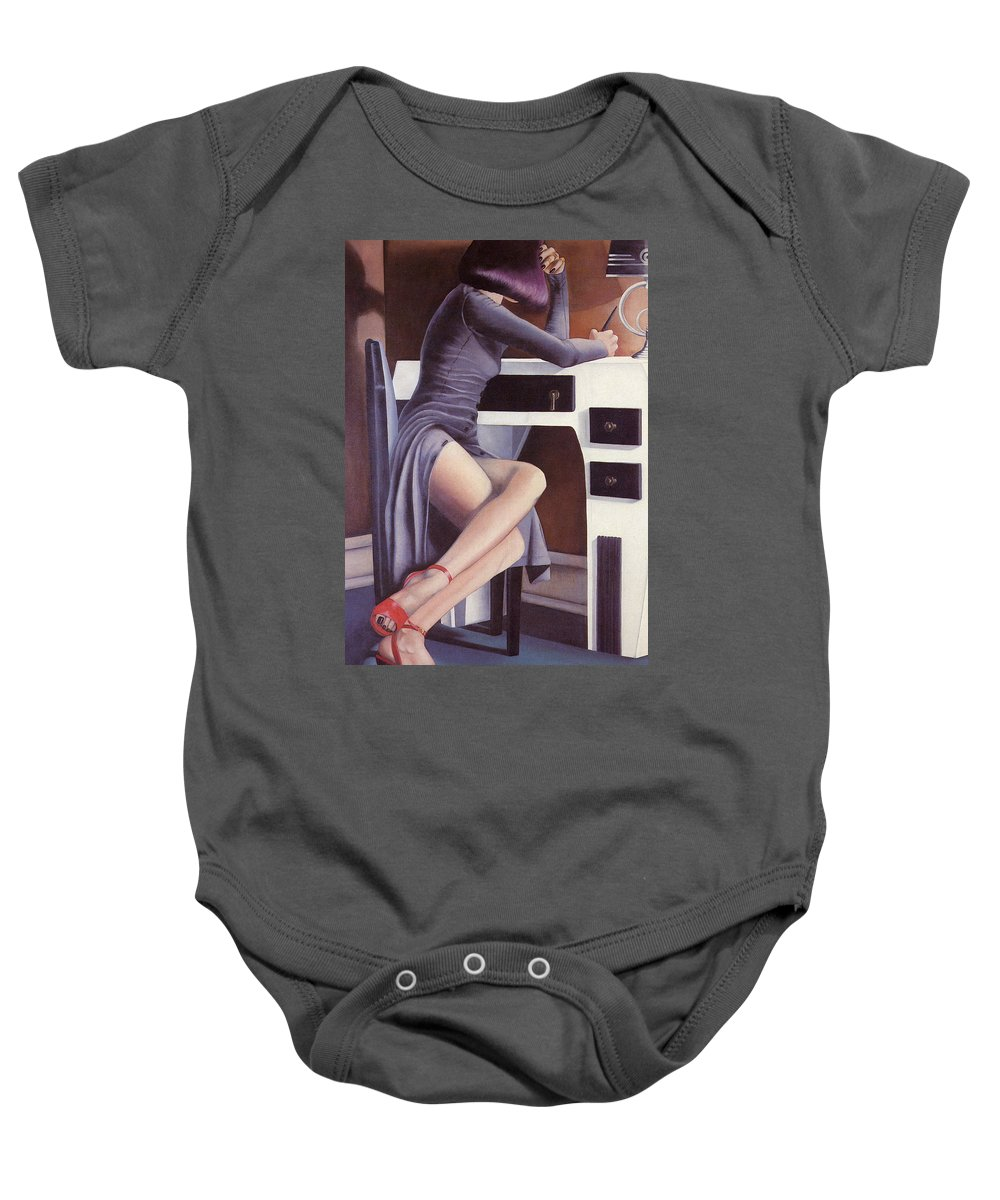 Feminine Baby Onesie featuring the painting Louise by Mary Ann Leitch