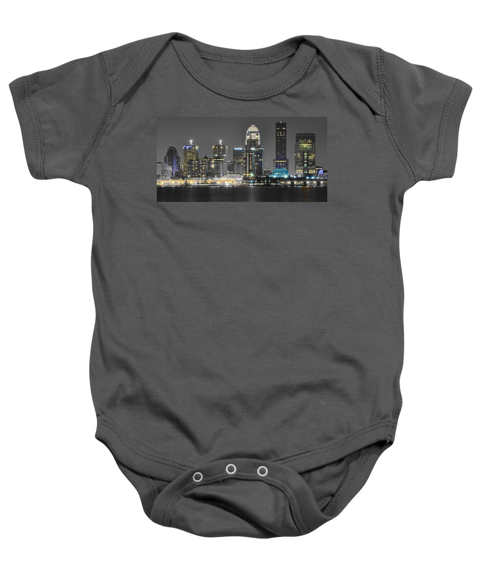 Louisville Baby Onesie featuring the photograph Louisville Lights Up by Frozen in Time Fine Art Photography