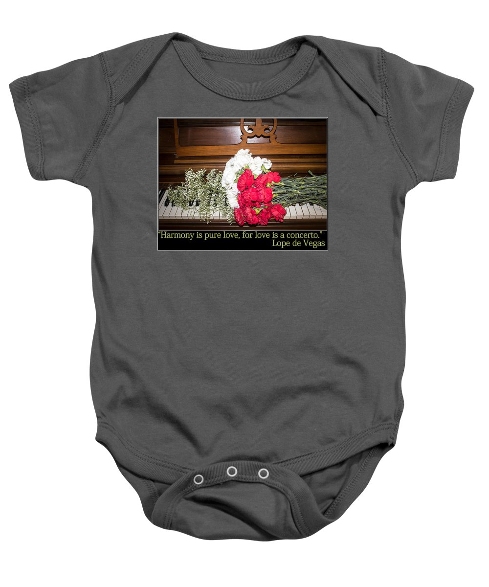 Valentine Baby Onesie featuring the photograph Love In Harmony by Tracy Brock