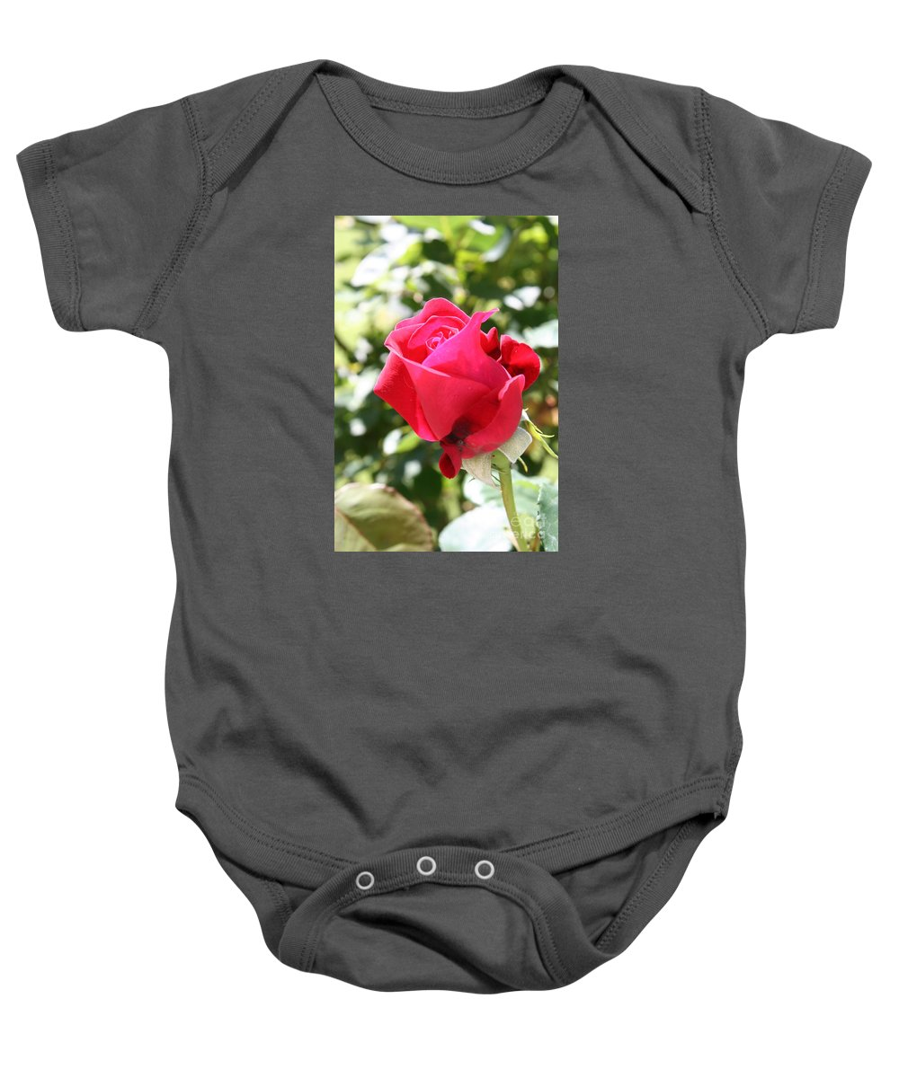 Rose Baby Onesie featuring the photograph Love In Red by Christiane Schulze Art And Photography