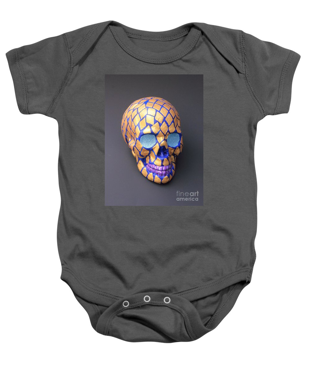Skull One Of 3 Baby Onesie featuring the painting Love In Three Cities by Terry Burke