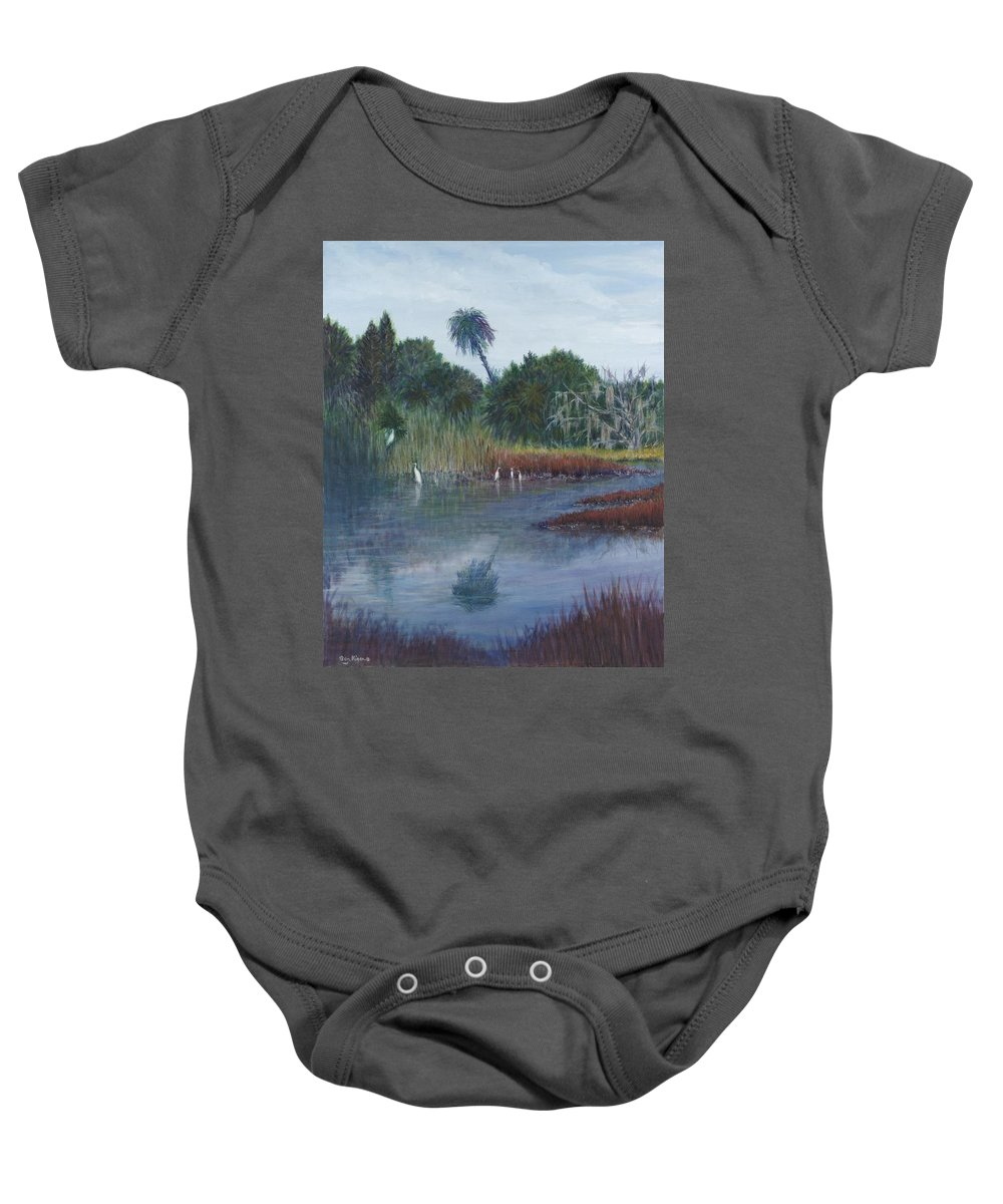 Landscape Baby Onesie featuring the painting Low Country Social by Ben Kiger