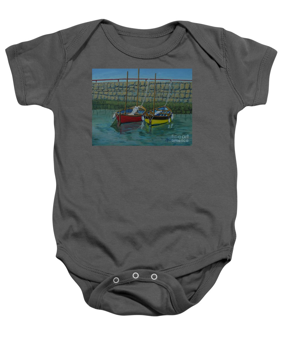 Rock Baby Onesie featuring the painting Low Tide by Anthony Dunphy