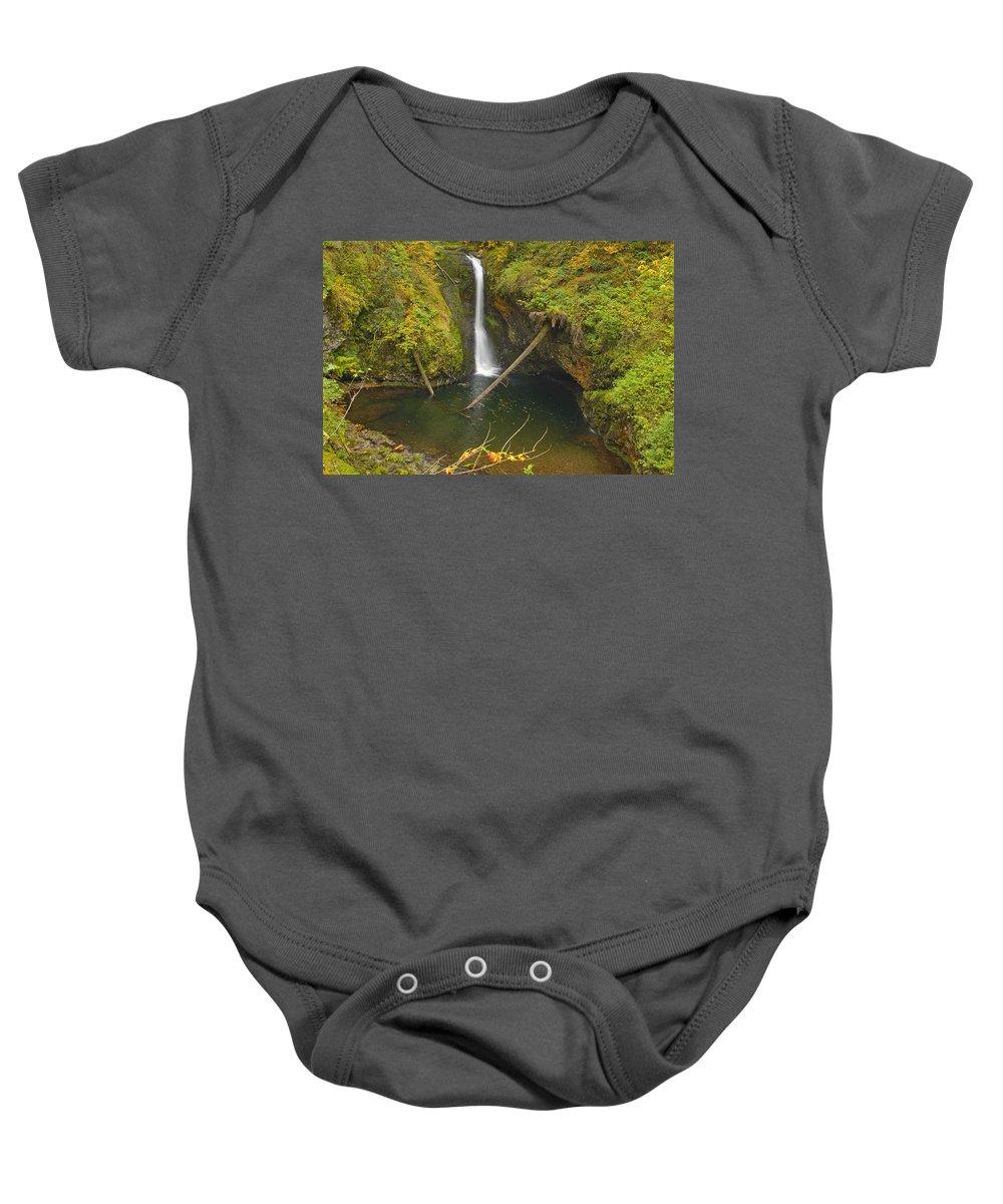 Lower Butte Creek Falls Baby Onesie featuring the photograph Lower Butte Creek Falls by David Gn