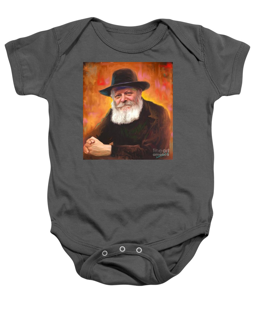 Lubavitcher Rebbe Baby Onesie featuring the painting Lubavitcher Rebbe by Sam Shacked