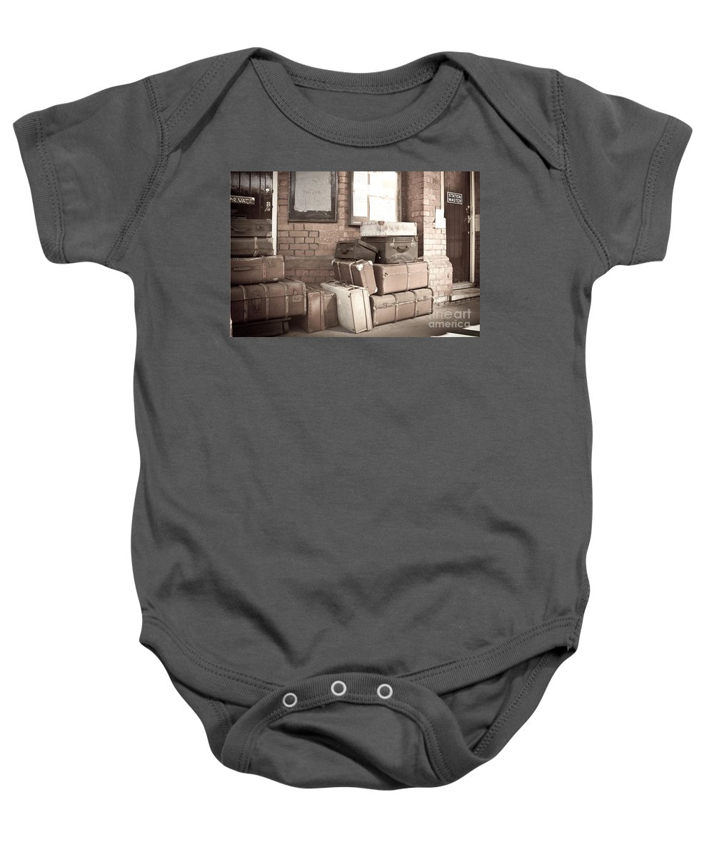 Energy Baby Onesie featuring the digital art Luggage Cases by Paul Stevens